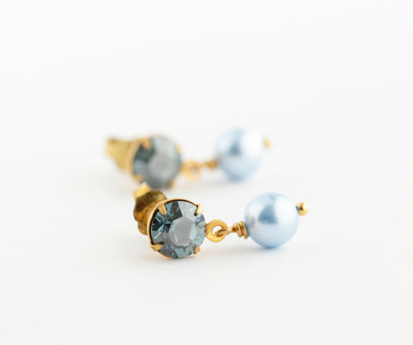 Dainty Post Earrings - Blue Crystal Post Earrings - Baby Blue Pearl Drop Earrings - Wedding Jewelry - Blue Bridal Earrings - Jacaranda