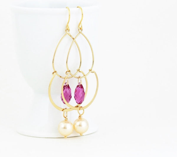 Pink Gold Earrings - Jacaranda