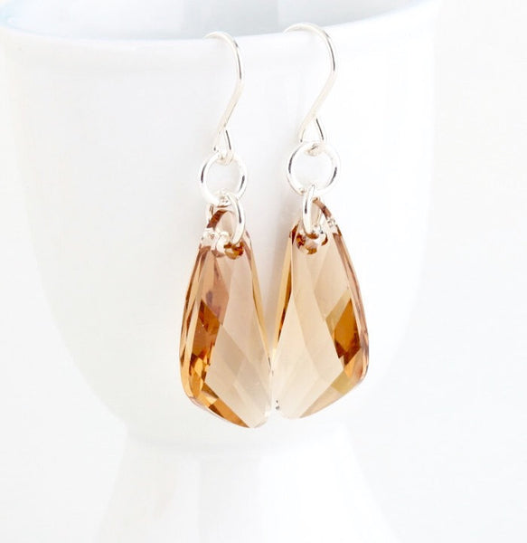 Light Amber Swarovski Crystal Dangle Earrings - Jacaranda