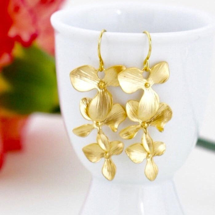 Gold Orchid Dangle Earrings
