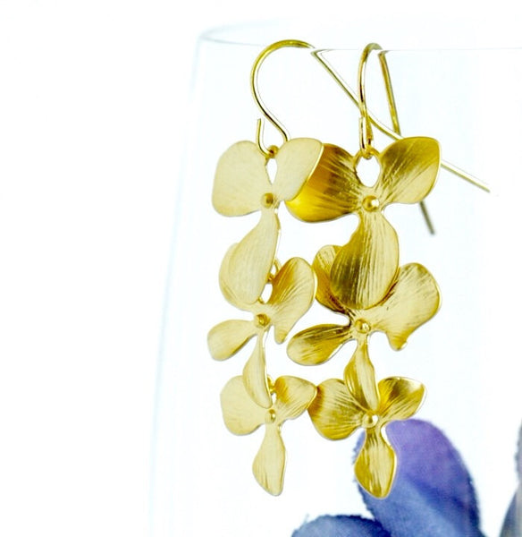 Gold Flower Dangle Earrings - Orchid Earrings - Bridal Earrings - Cascading - Sophisticated - Wedding Earringss - Gift For Woman - Jacaranda