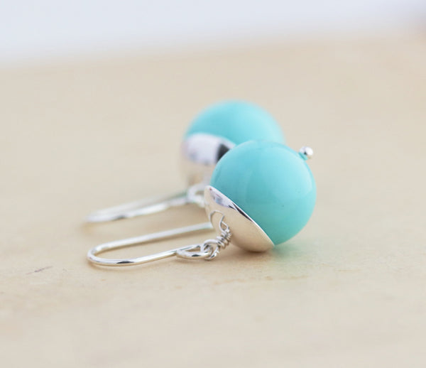 Tiffany Blue Earrings - Aqua Blue Earrings - Sterling Silver Earrings - Dangle Earrings - Silver Earrings - Simple Earrings - Round - Jacaranda