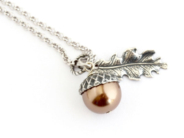 Bronze Pearl and Sterling Silver Pendant Acorn Necklace - Jacaranda