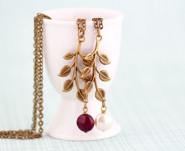 Brass Branch Necklace With Cream or Burgundy Pearl - Jacaranda