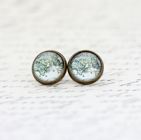 Africa Asia Map Stud Earrings - Jacaranda