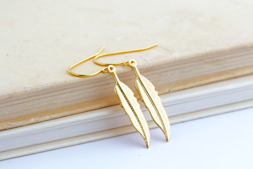 Gold Feather Earrings - Feather Jewelry - Brass Feather Earrings - Gold Color Feathers - Lightweight Earrings - Dangle Earrings - Jacaranda