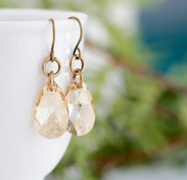 Golden Crystal Earrings - Honey Earrings - Bridesmaids Gift - Crystal Dangle Earrings - Wedding Earrings - Jacaranda