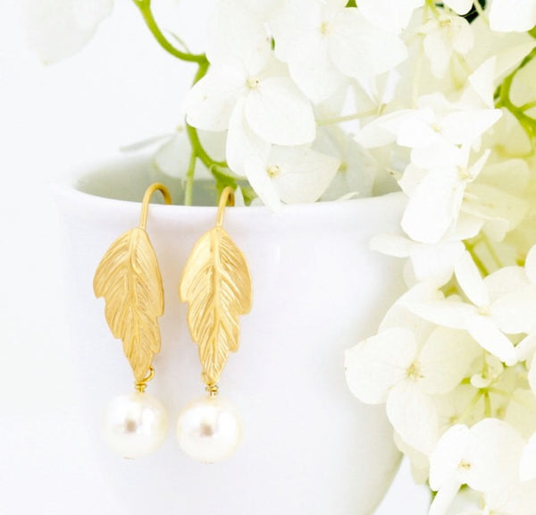 Gold Leaf and Ivory Pearl Earrings - Jacaranda