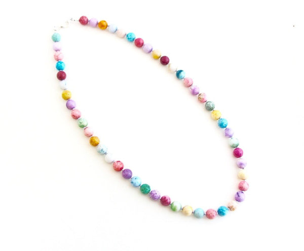 Pastel Agate Beaded Necklace - Jacaranda