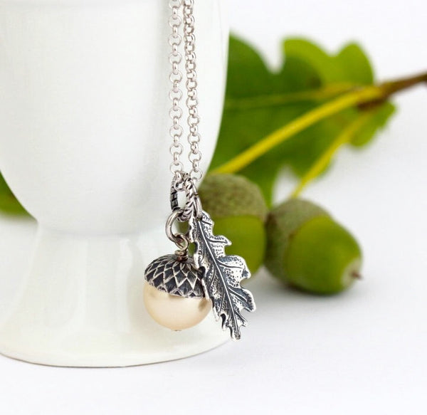Pale Gold Pearl and Sterling Silver Pendant  Acorn Necklace - Jacaranda