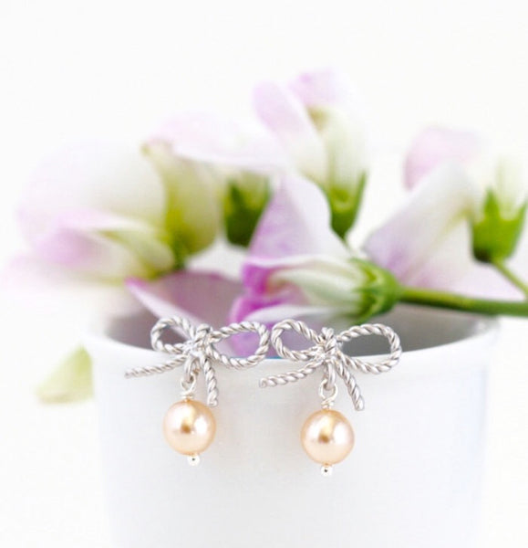 Blush Pearl Silver Bow Stud Earrings - Jacaranda
