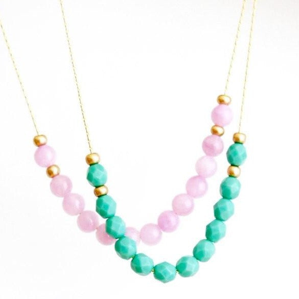 Delicate Beaded Necklace in Lilac and Sea Foam