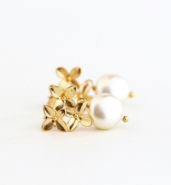 Gold Pearl Earrings - Ivory Pearl - Jacaranda