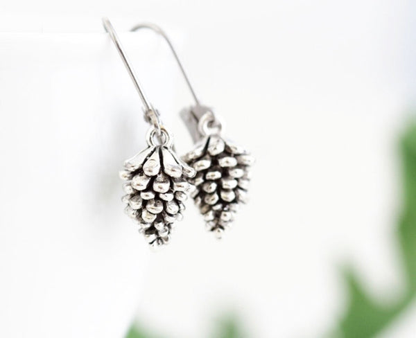 Silver Pine Cone Earrings - Jacaranda