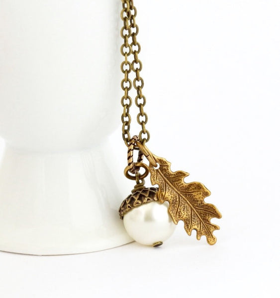 Ivory Pearl and Antique Gold Pendant  Acorn Necklace - Jacaranda