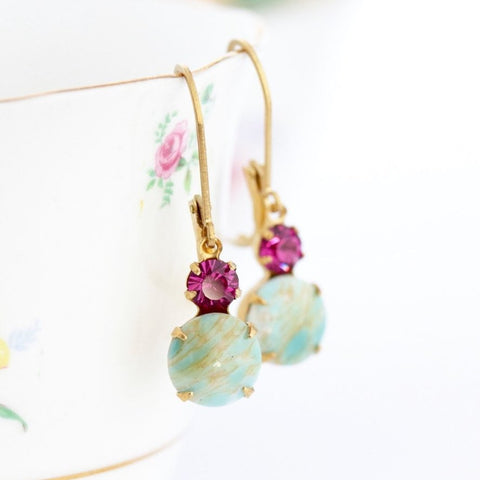 Aqua and Pink Vintage Crystal Earrings