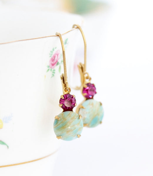 Aqua and Pink Vintage Crystal Earrings - Jacaranda
