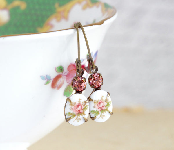 Peach Cameo Earrings