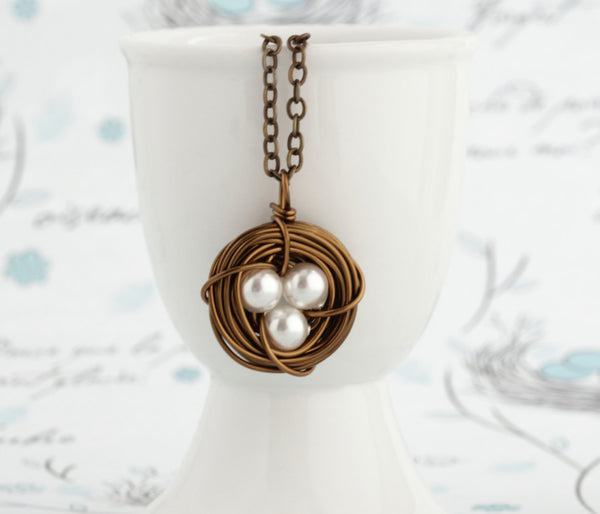 Push Present for New Mom - Bird Nest Pendant - Family Jewelry - Gift For Mom - Grandmother Gift - Antique Brass - Pearl 3 Eggs in a Nest