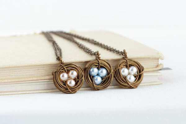 Gift For Mom - Pearl Bird Nest Necklace - Rustic Nature Nest Jewelry - Push Present For Expectant Mom - Bird Nest Necklace - Gift For Mommy - Jacaranda