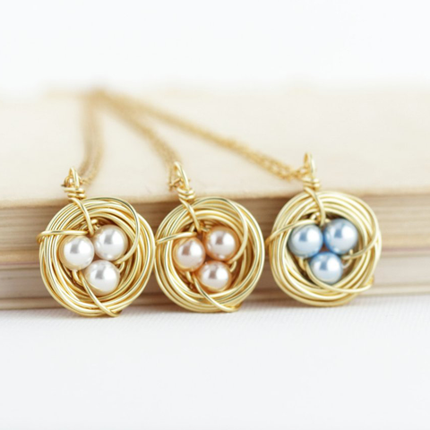 Gold and Pearl Bird Nest Necklace - Jacaranda