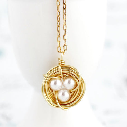 Gold Bird Nest Necklace With Pearl Eggs - Jacaranda