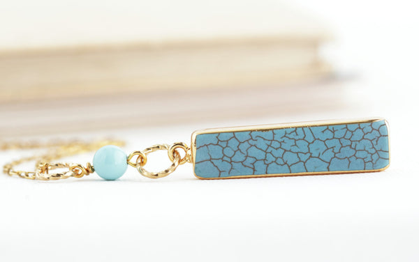 Turquoise Bar Pendant Necklace
