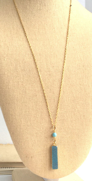 Bar Pendant Necklace -Turquoise Pendant Necklaces - Boho Turquoise Gold Pendant - Bridesmaid Gifts - Bridal Party Necklaces - Rustic Wedding - Jacaranda