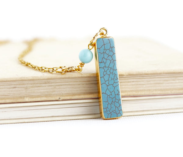 Turquoise Bar Pendant Necklace - Jacaranda