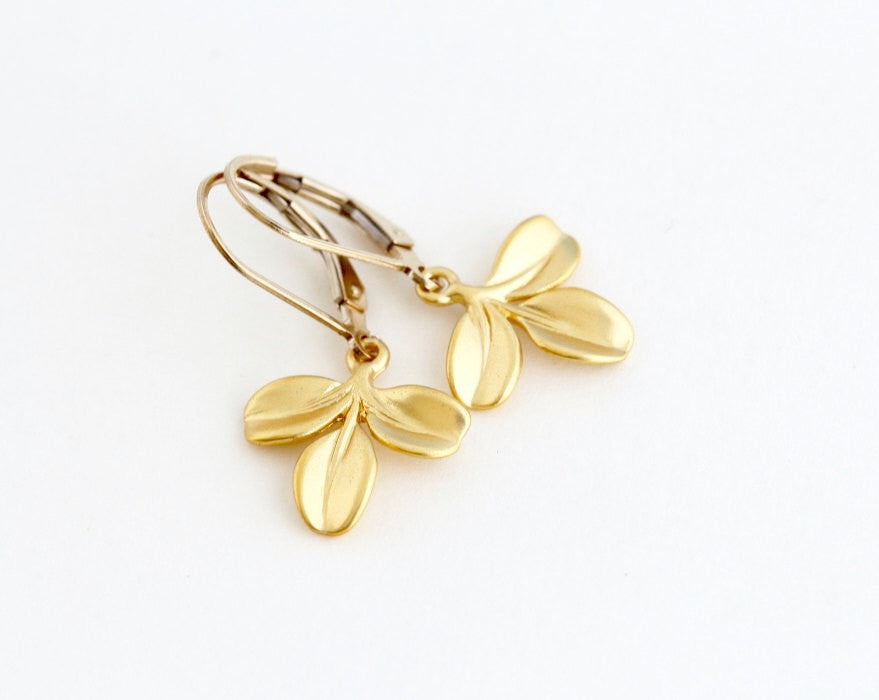 Gold Leaf Earrings - Jacaranda