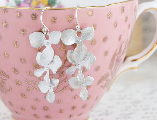 Silver Orchid Earrings - Jacaranda