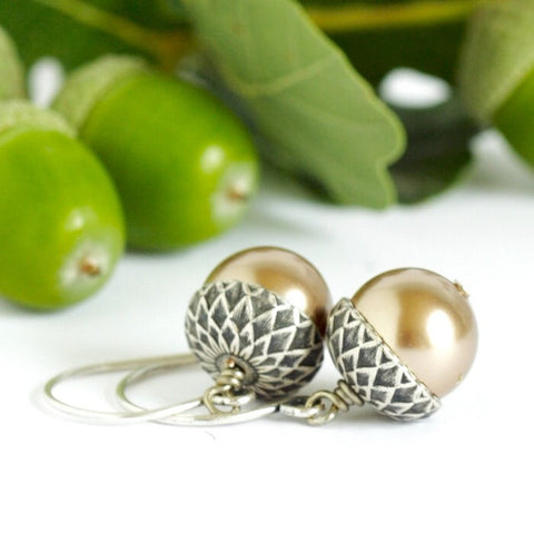 Silver and Pale Bronze Acorn Earrings - Jacaranda