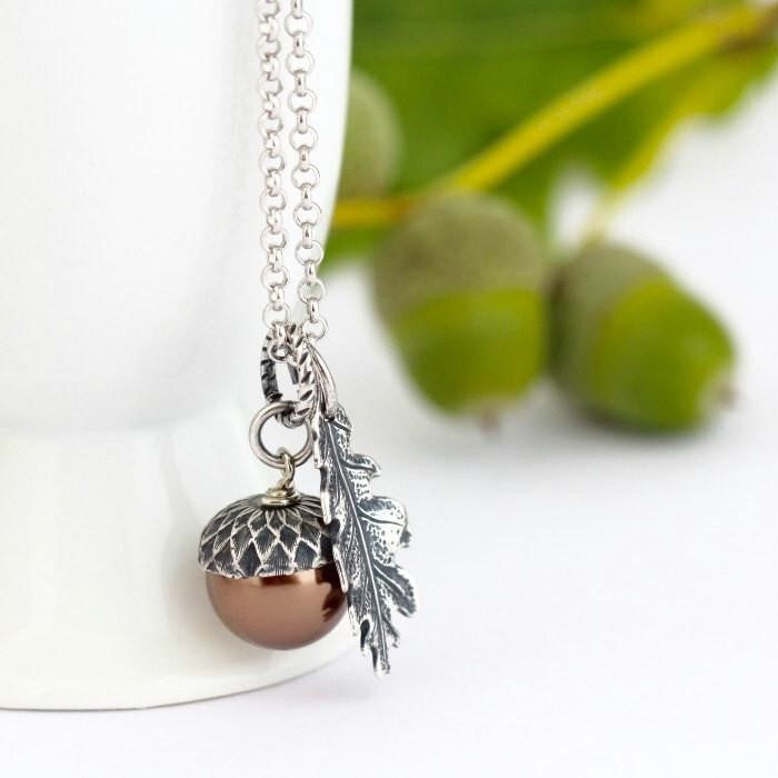 Bronze Pearl and Sterling Silver Pendant Acorn Necklace