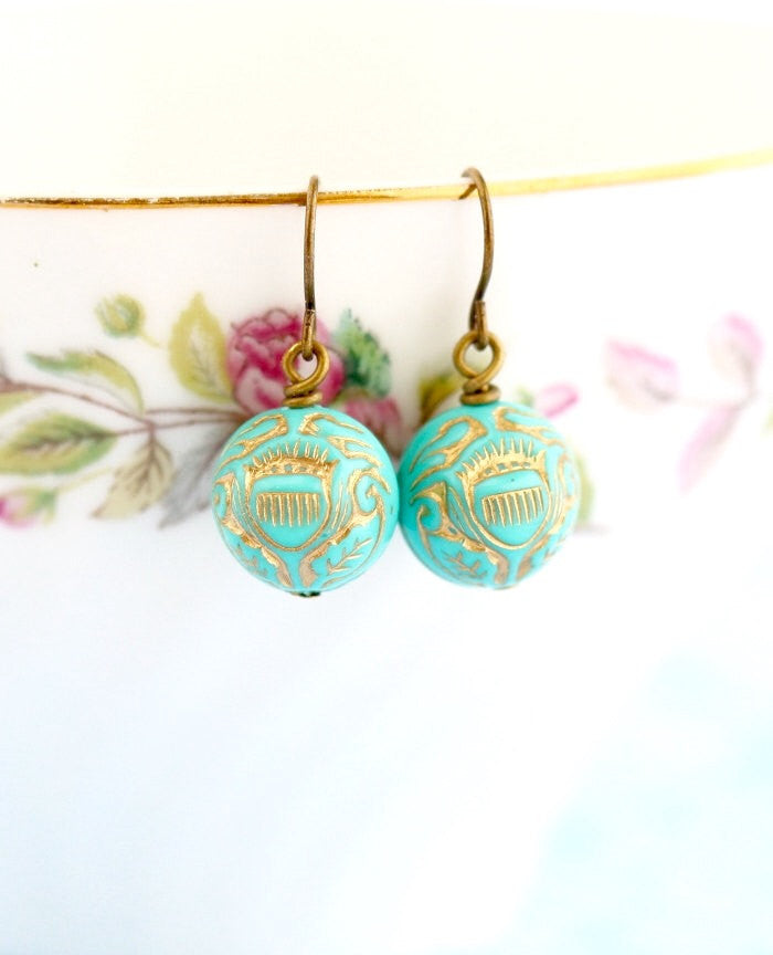 Turquoise Earrings - Vintage Bead Earrings - Ornate Earrings - Turquoise Jewelry - Dangle Earrings - Gift For Woman - Jacaranda