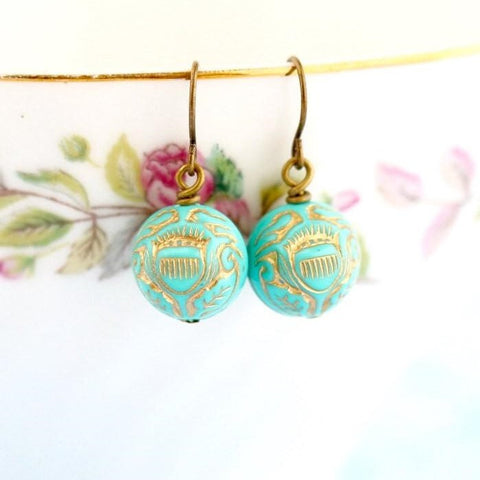 Turquoise Gold Beaded Earrings - Jacaranda