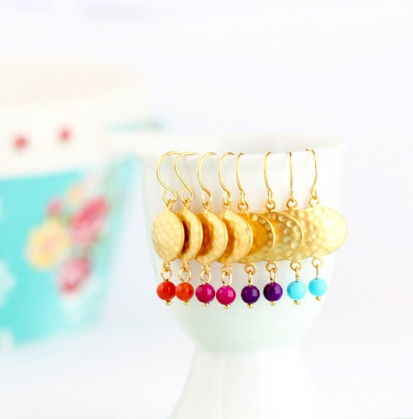 Hammered Gold Dangle Earrings - Bohemian Earrings - Beaded Earrings - Colorful Earrings - Vivid Colors - Vibrant - Gold Earrings - Jacaranda
