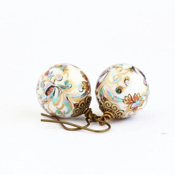Ornate Painted Round Beaded Earrings - Jacaranda