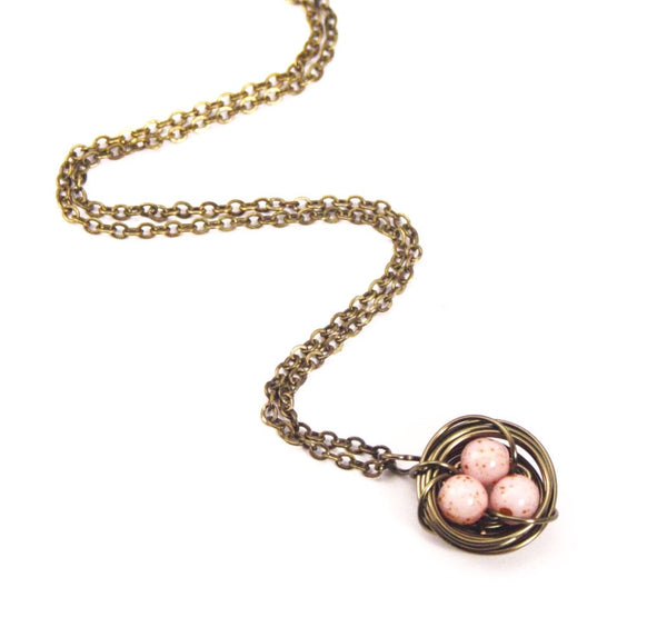 Pink and Bronze Birds Nest Necklace - Jacaranda