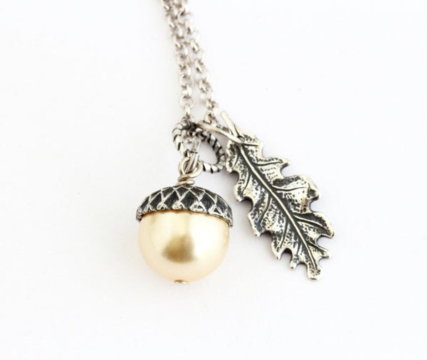 Pale Golden Pearl Acorn Necklace With Antique Silver Oak Leaf Charm - Sterling Silver Chain,Acorn Pendant - Gift For Mom - Gift For Woman - Jacaranda