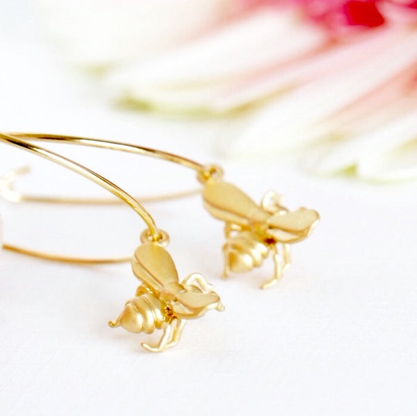 Gold Hoop Earrings - Bee Earrings - Hypoallergenic Earrings - Gold Honey Bee Charms - Summer Fashion - Gift For Girlfriend - Gift For Mom - Jacaranda