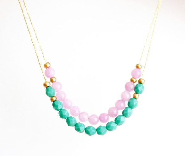 Delicate Beaded Necklace in Lilac and Sea Foam - Jacaranda