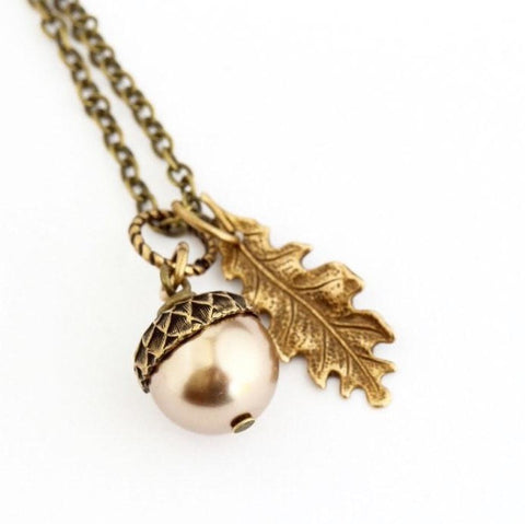 Pale Bronze Pearl and Antique Gold  Acorn Pendant Necklace - Jacaranda