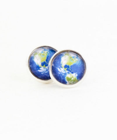 Map Earrings -  Planet Earth Post Earrings -  Gift For Traveler Explorer - Stud Earrings - Map Jewelry - Green and Blue - Jacaranda