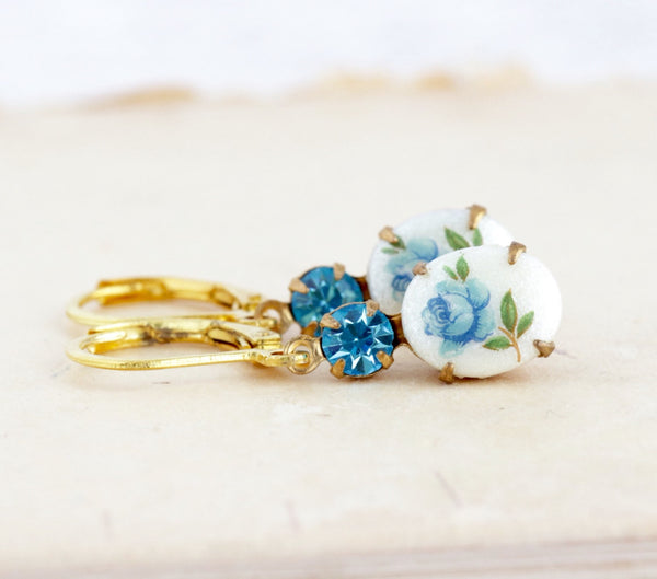 Blue Earrings, Aquamarine Jewel Earrings, Flower Cameo Earrings, Brass Drop Earrings, Vintage Cameo Earrings, Aquamarine Crystal Earrings - Jacaranda