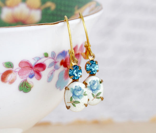Vintage Floral Cameo Jewel Earrings - Jacaranda
