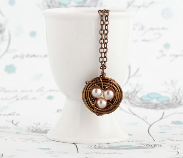 Woodland Bird Nest Pendant - Pearl Bird Nest Necklace - Rustic Nature Jewelry - Push Present For Mom - Wire Nest Pendant - Pearl Pendant