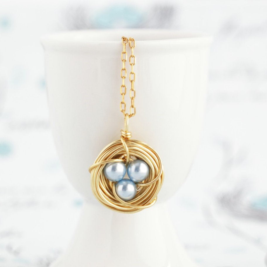 Pearl Bird Nest Necklace - Gold