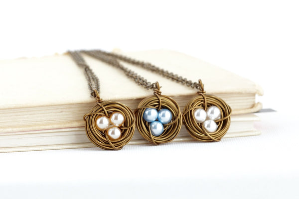 Push Present for New Mom - Bird Nest Pendant - Family Jewelry - Gift For Mom - Grandmother Gift - Antique Brass - Pearl 3 Eggs in a Nest - Jacaranda