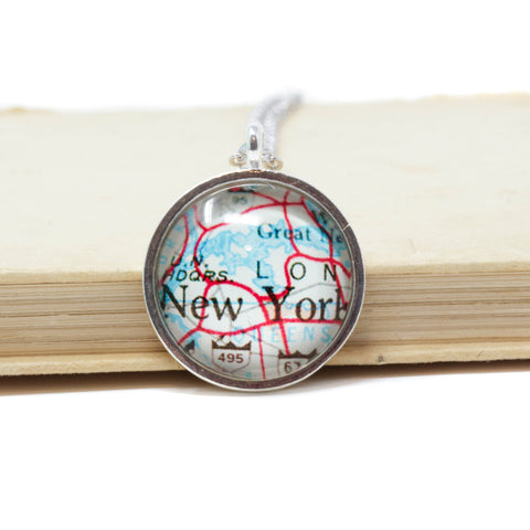 New York City Map Pendant Necklace - Jacaranda