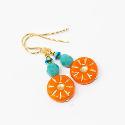 Orange Beaded Earrings, Vibrant Jewelry, Boho Sunshine Dangle Earrings, Summer Jewelry, Aqua Beads